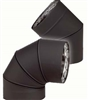 "VDB0790F - 7"" Ventis Double-Wall Black Stove Pipe, 90 Degree Fixed Elbow,  430 Inner/Satin Coat Steel Outer"