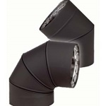 "VDB0845F - 8"" Ventis Double-Wall Black Stove Pipe, 45 Degree Fixed Elbow,  430 Inner/Satin Coat Steel Outer"