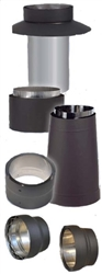 "VDB08OA - 8"" Ventis Double-Wall Black Stove Pipe, Oval To Round Adapter"