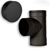 "VSB06T - 6"" Ventis Single-Wall Black Stove Pipe 22 Gauge Cold Rolled Steel, Tee With Fixed Snout"