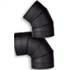 "VSB0845F - 8"" Ventis Single-Wall Black Stove Pipe, 45 Degree Fixed Elbow"