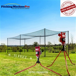 First Pitch Combo Pitching Machine + Batting Cage