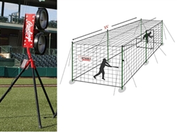 Rawlings Pro Line Baseball Pitching Machine w/ 35' Batting Cage
