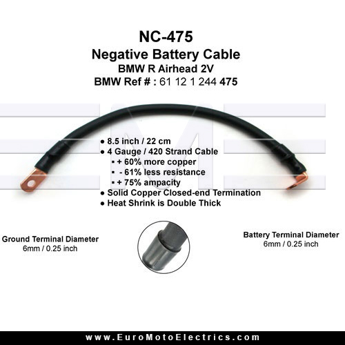 Enduralast bmw r airhead battery cable kit negative 61 12 part greentooth Gallery