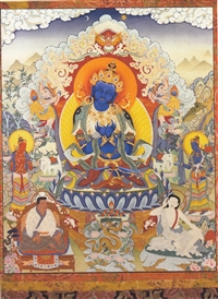 "Vajradhara with Marpa and Milarepa print from a thangka by Greg Smith 5""x7"""