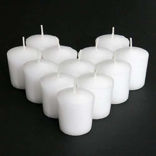Unscented Votive Candle, White, Three Dozen