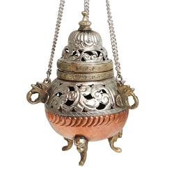 "5"" High Hanging Censer Copper and White Metal"
