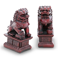 "Temple Guardian Lion Figurines 4"" high, cast in red resin"