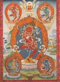 Vajrayogini with Dakinis by Greg Smith thangka print 5x7