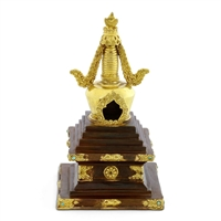 "Stupa cast in copper and brass 9"" high"