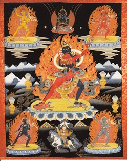 "Chakrasamvara with black background print from a thangka by Greg Smith 8""x10"""