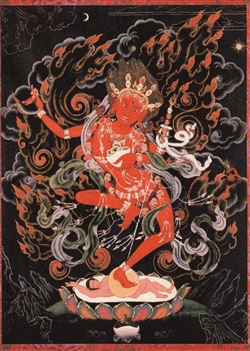 Vajrayogini by Greg Smith black background thangka print 8x10