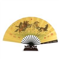 Decorative Fan with Running Horses