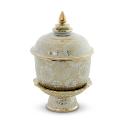 "Ceramic Offering Bowl with Pedestal and Lid | Gold Flower Design | 6.5"" high"