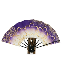 Purple Fan with Gold Blossoms