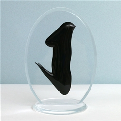 3-D Black Ashe With Plaque Stand