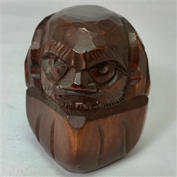 "3.25"" high Carved Wooden Daruma"