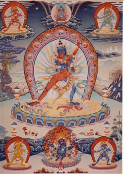 "Chakrasamvara with rainbow aura print from a thangka by Greg Smith 5""x7"""