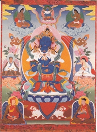 "Vajradhara with Tilopa, Naropa, Marpa, Milarepa, Gampopa, and Tusum Khyenpa print from a thangka by Greg Smith 5""x7"""