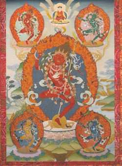 Vajrayogini with Dakinis by Greg Smith thangka print 8x10