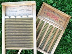 Large Family-Size Brass Herringbone Washboard.