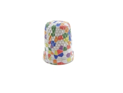 15 mm Rhythm Patch Enameled Brass Spring Colors Thimble, Dome Top, Flat Collar