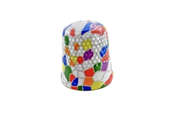 20 mm Rhythm Patch Enameled Steel Spring Colors Thimble, Dome Top, Flat Collar