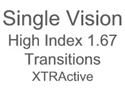Single Vision High Index 1.67 Transitions XTRActive
