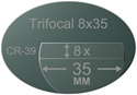 Trifocal Flat Top 8X35 Plastic CR-39 Polarized