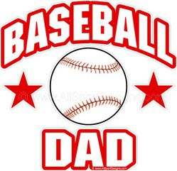 Baseball DAD window sticker decal clings & magnets