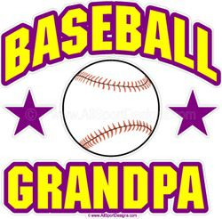 Baseball GRANDPA Window Decals Stickers or Magnets
