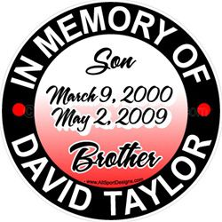 IN MEMORY OF stickers clings decals & magnets