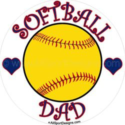 Softball Dad stickers clings decals & magnets