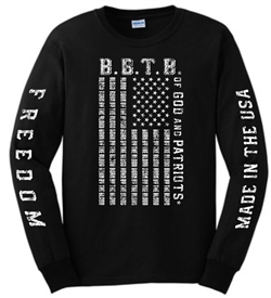 Born By The Blood Of God and Patriots Flag Long Sleeve T-Shirt in Black