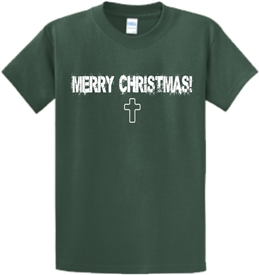 Merry Christmas Cross Mens T-Shirt Green