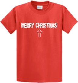 Merry Christmas Cross Mens T-Shirt Red