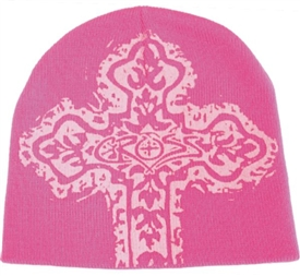 Hot Pink Christian Cross Beanie