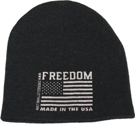 Freedom Flag Made in the USA Charcoal Gray Patriotic Beanie