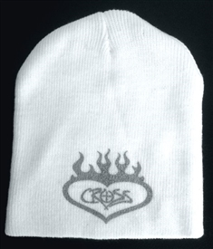 Silver Flaming Heart Cross Beanie in White