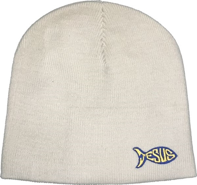 Jesus Fish Beanie in Sand