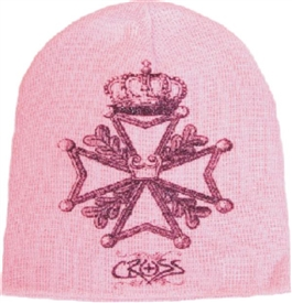 Christian Cross & Crown Princess Beanie in Pink
