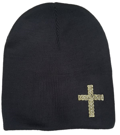 Black Gold Rope Cross Christian Beanie in Navy Blue