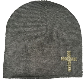 Black Gold Rope Cross Christian Beanie in Heather Gray