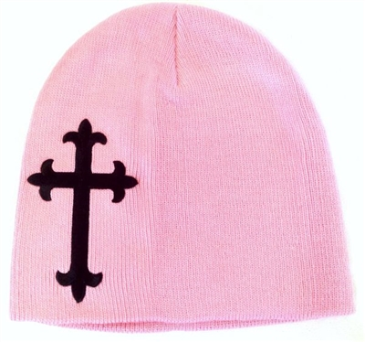Black Satin Christian Cross Beanie in Pink