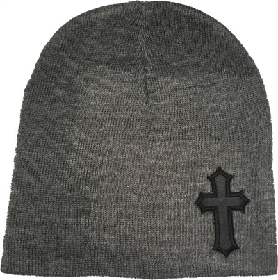 Black Satin Christian Cross Beanie in Heather Gray