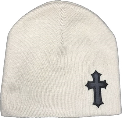 Black Satin Christian Cross Beanie in Sand