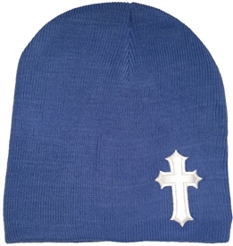 White Satin Christian Cross Beanie in Blue