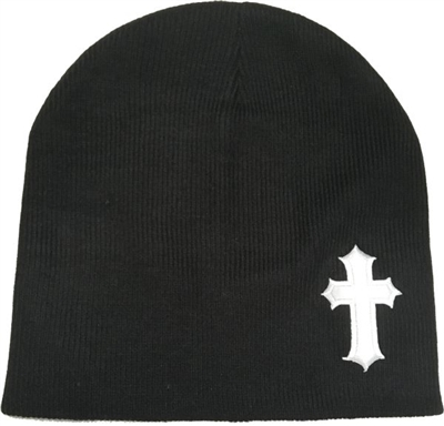 White Satin Christian Cross Beanie in Black