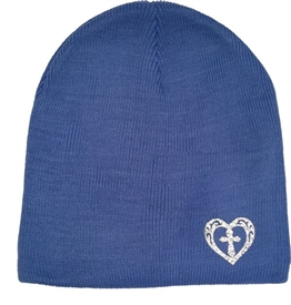 Silver Sparkle Heart Cross Beanie in Carolina Blue