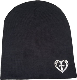 Silver Sparkle Heart Fitted Skull Cap Cross Beanie in Navy Blue